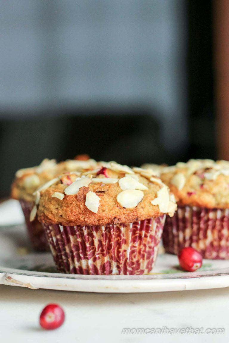 Low Carb Cranberry Almond Crumb Muffins