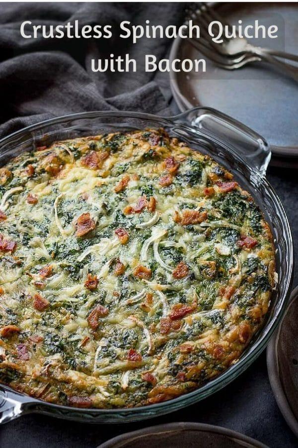 Crustless Spinach Bacon Quiche Recipe. #quiche #crustless #spinach #bacon #lowcarb #keto