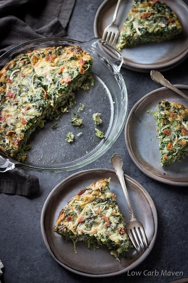 Low Carb Spinach Bacon Crustless Quiche slices on plates