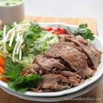 Thai Beef Salad Noodle Bowls with Miracle Noodles are a delicious low carb Asian meal.   low carb, gluten-free, dairy-free, paleo, keto   lowcarbmaven.com