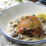 Chicken Thighs with Mushrooms and Tarragon Cream features golden chicken thighs in a white wine and cream sauce flavored with shallots and fresh tarragon. 7 net carbs per serving.