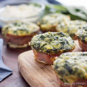 These Spinach Feta Quiche Muffins taste like spinach artichoke dip and are a breeze to make! | low carb, gluten-free, keto, thm