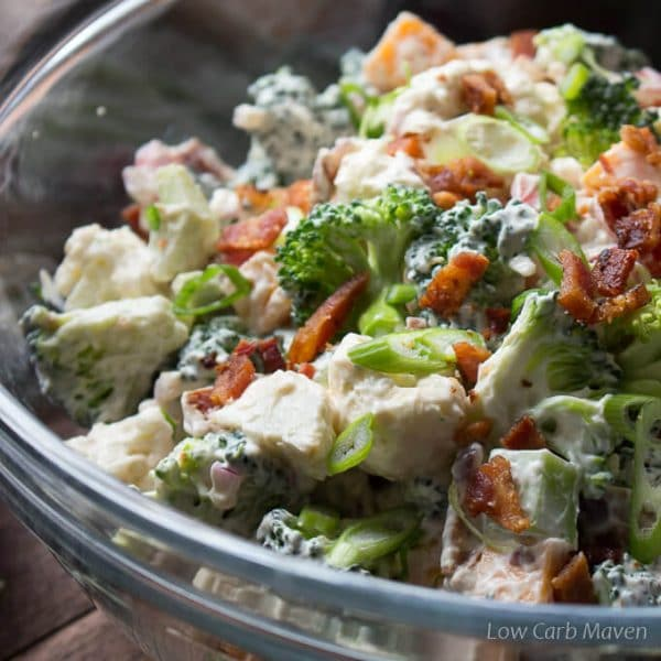 Easy Amish Broccoli Cauliflower Salad in Creamy Dressing | Low Carb Maven