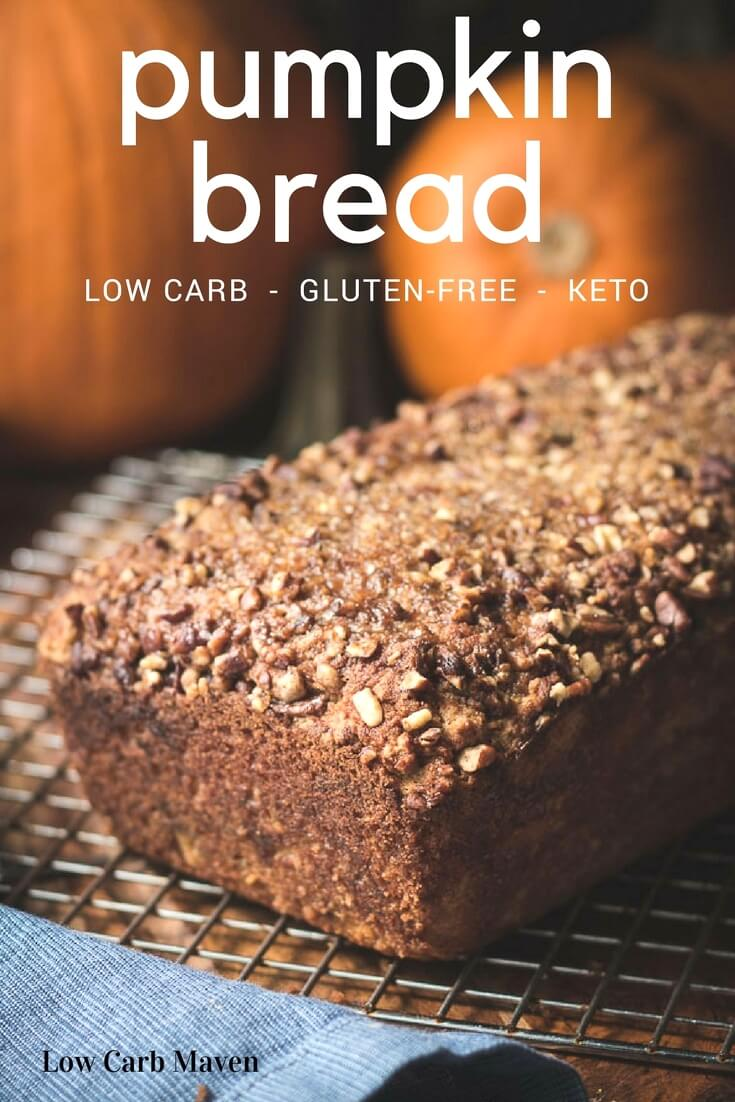 Amazing gluten-free pumpkin bread recipe made with coconut flour is low carb and sugar-free.