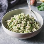 low carb avocado chicken salad with no mayo in a bowl with spoon