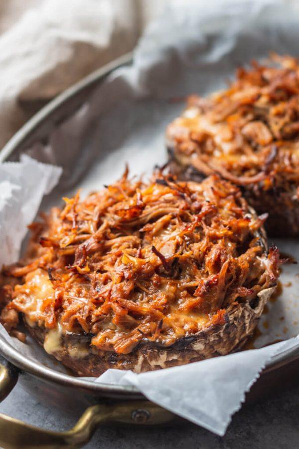 Pulled Pork Keto Stuffed Mushrooms