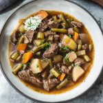 Pressure cooker vegetable beef soup (Instant Pot, low carb)