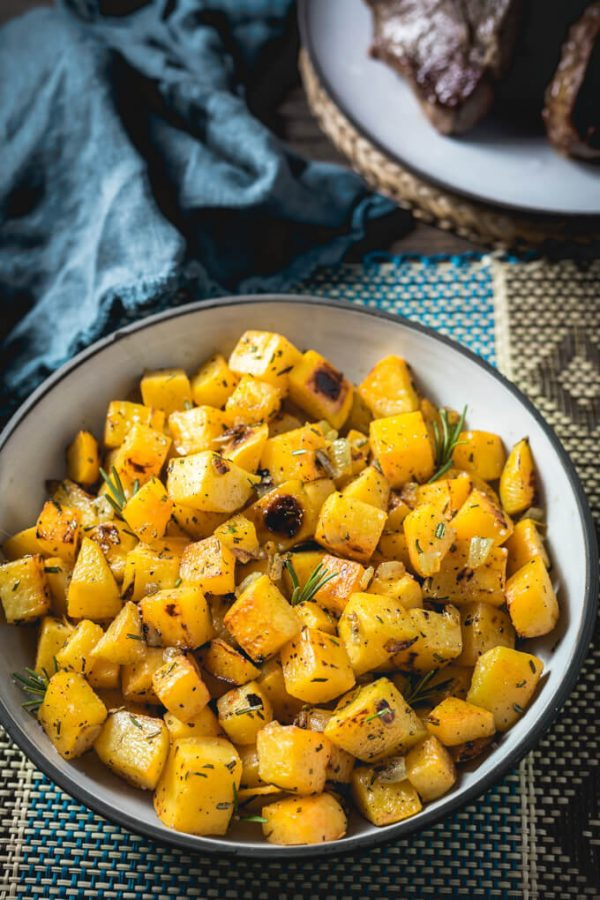 Roasted Rutabaga with rosemary and onions - a great low carb potato sub!