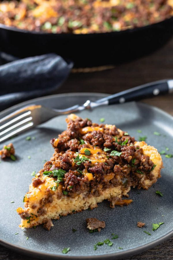 Sloppy Joe Casserole with a low carb cornbread base - a tasty comfort food meal.