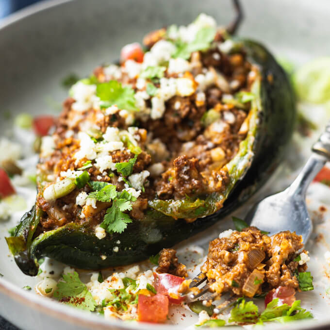 Stuffed Poblano Peppers With Mexican Ground Beef Low