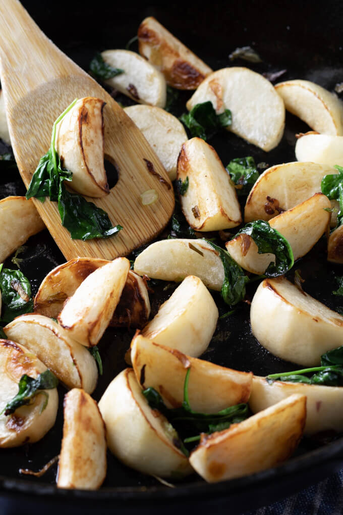 Pan Fried Turnips Recipe with Onions and Spinach