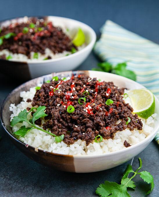Keto Korean Beef Bowls with ground beef and cauliflower rice